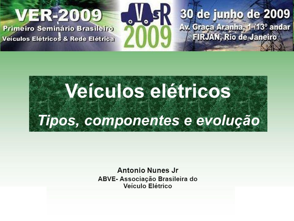 ABVE.org.br 1 Antonio Nunes Jr ABVE- Associação Brasileira do Veículo Elétrico Veículos elétricos Tipos, componentes e evolução
