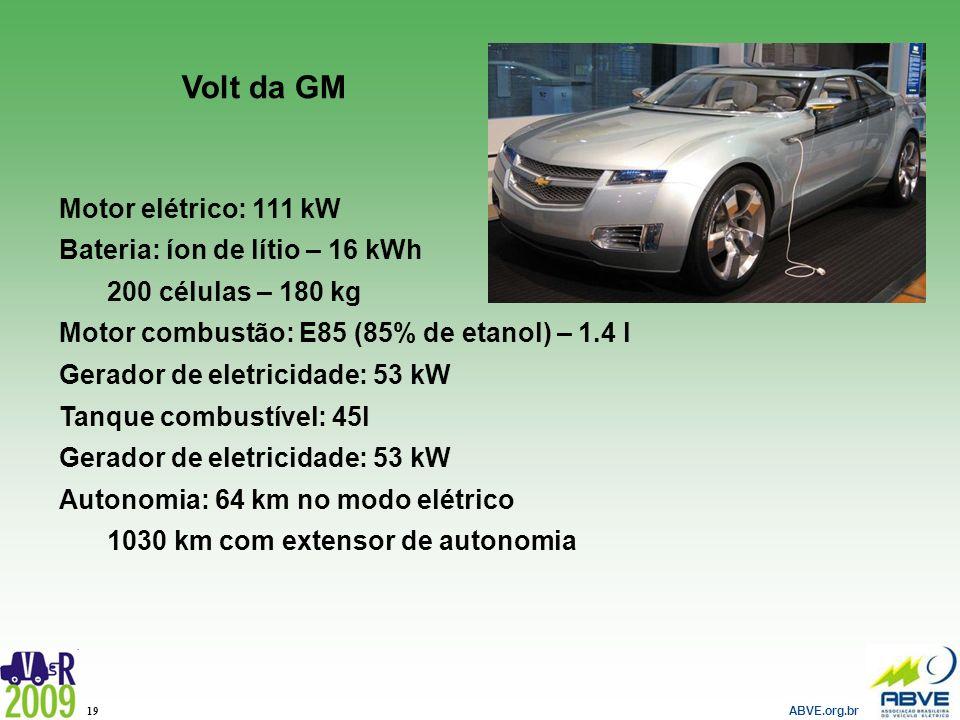 ABVE.org.br 19 Volt da GM Motor elétrico: 111 kW Bateria: íon de lítio – 16 kWh 200 células – 180 kg Motor combustão: E85 (85% de etanol) – 1.4 l Gera