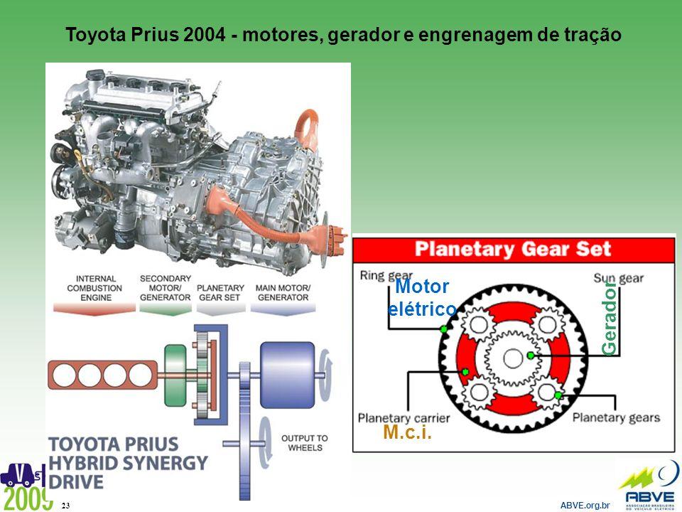 ABVE.org.br 23 M.c.i. Motor elétrico Gerador Toyota Prius 2004 - motores, gerador e engrenagem de tração