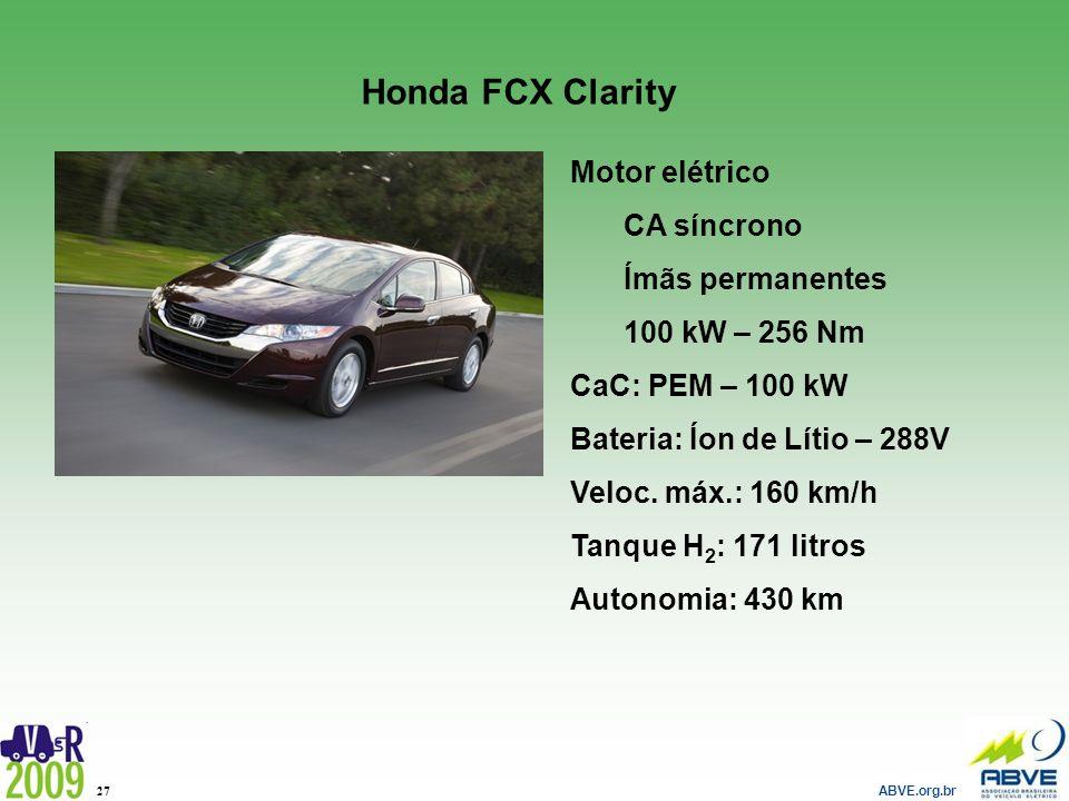 ABVE.org.br 27 Honda FCX Clarity Motor elétrico CA síncrono Ímãs permanentes 100 kW – 256 Nm CaC: PEM – 100 kW Bateria: Íon de Lítio – 288V Veloc. máx
