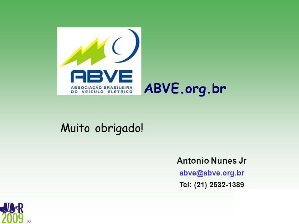 ABVE.org.br 33 ABVE.org.br Antonio Nunes Jr abve@abve.org.br Tel: (21) 2532-1389 Muito obrigado!