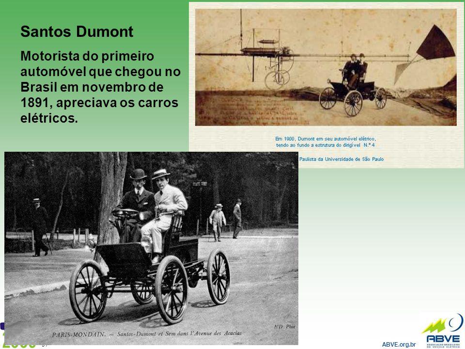 ABVE.org.br 37 Santos Dumont Motorista do primeiro automóvel que chegou no Brasil em novembro de 1891, apreciava os carros elétricos.