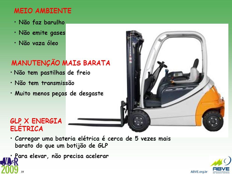 ABVE.org.br 39 Não tem pastilhas de freio Não tem transmissão Muito menos peças de desgaste MANUTENÇÃO MAIS BARATA Carregar uma bateria elétrica é cer