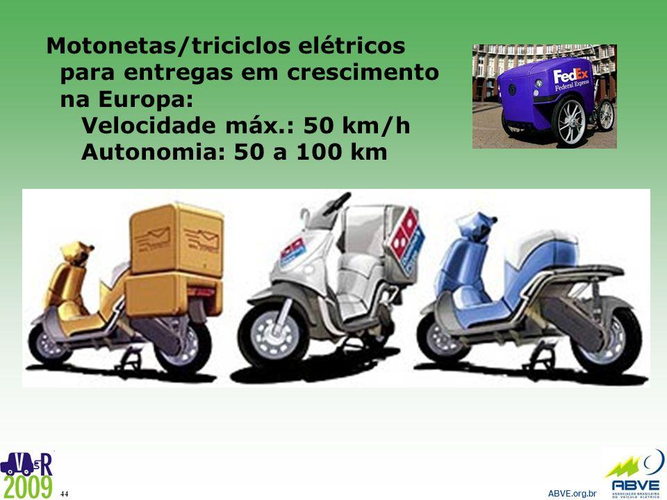 ABVE.org.br 44 Motonetas/triciclos elétricos para entregas em crescimento na Europa: Velocidade máx.: 50 km/h Autonomia: 50 a 100 km