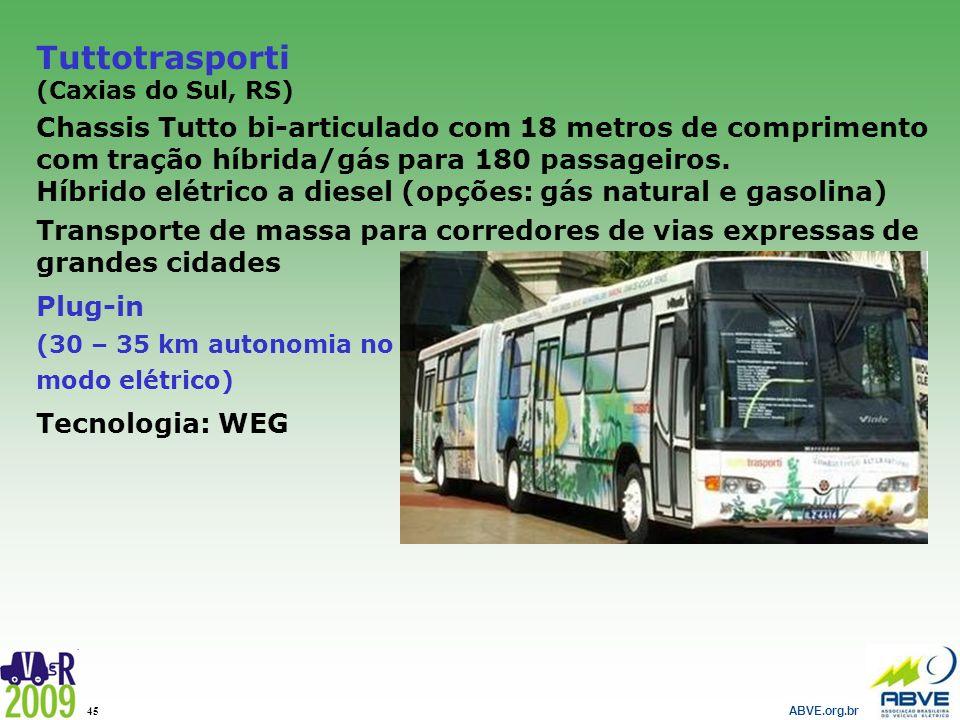ABVE.org.br 45 Tuttotrasporti (Caxias do Sul, RS) Chassis Tutto bi-articulado com 18 metros de comprimento com tração híbrida/gás para 180 passageiros