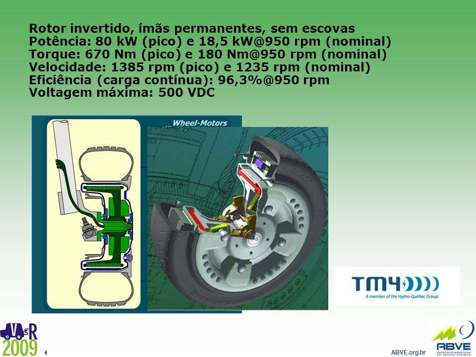 ABVE.org.br 6 Rotor invertido, ímãs permanentes, sem escovas Potência: 80 kW (pico) e 18,5 kW@950 rpm (nominal) Torque: 670 Nm (pico) e 180 Nm@950 rpm