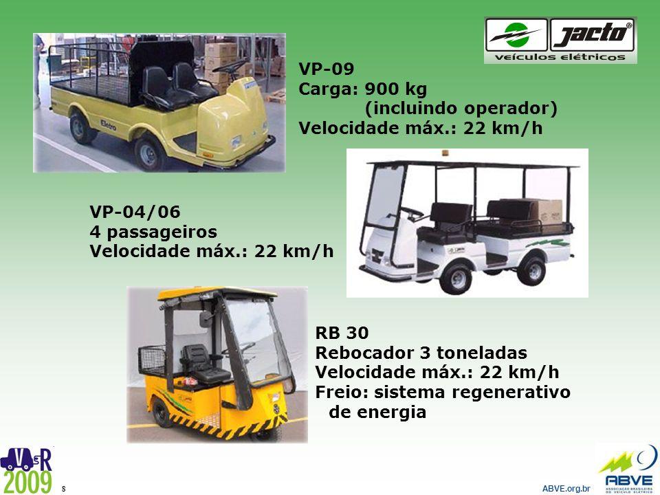 ABVE.org.br 8 VP-09 Carga: 900 kg (incluindo operador) Velocidade máx.: 22 km/h VP-04/06 4 passageiros Velocidade máx.: 22 km/h RB 30 Rebocador 3 tone