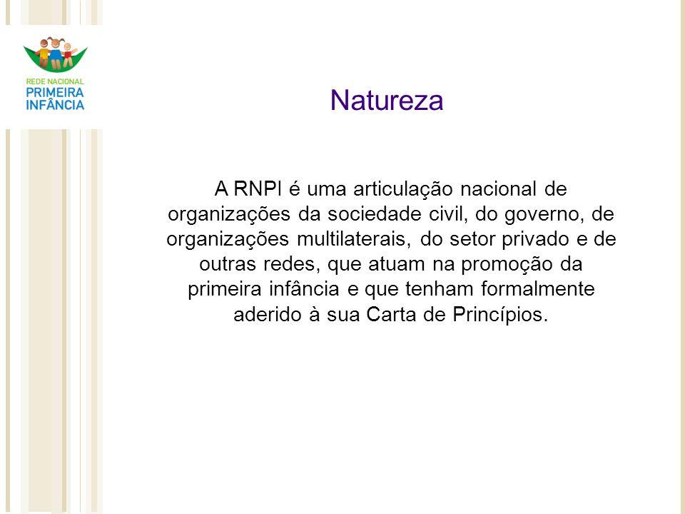 Natureza A RNPI é uma articulação nacional de organizações da sociedade civil, do governo, de organizações multilaterais, do setor privado e de outras