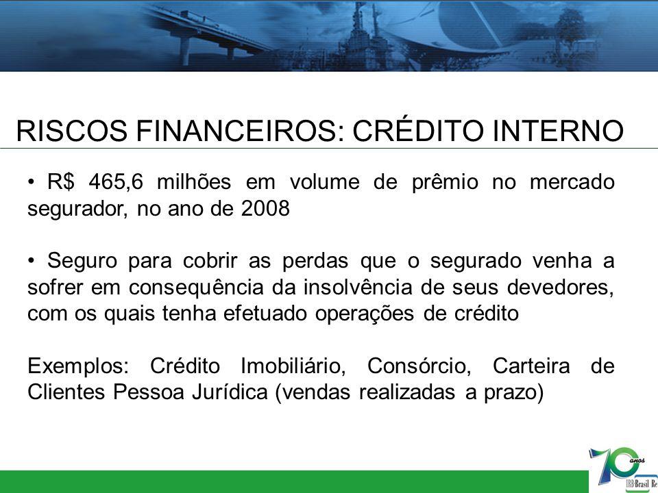 RISCOS FINANCEIROS: CRÉDITO INTERNO R$ 465,6 milhões em volume de prêmio no mercado segurador, no ano de 2008 Seguro para cobrir as perdas que o segur