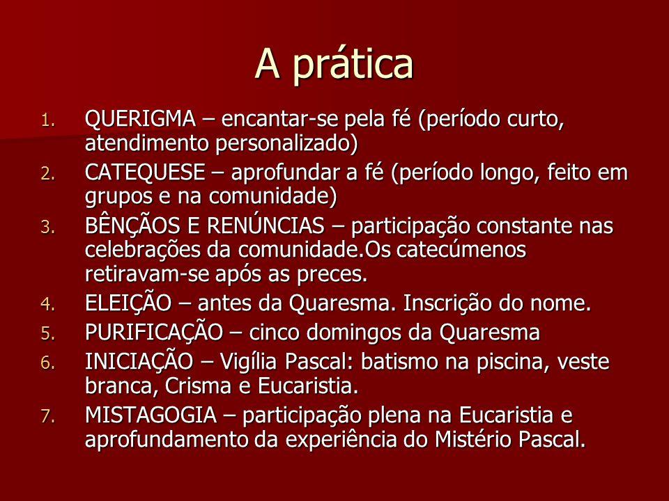 A prática 1. QUERIGMA – encantar-se pela fé (período curto, atendimento personalizado) 2. CATEQUESE – aprofundar a fé (período longo, feito em grupos