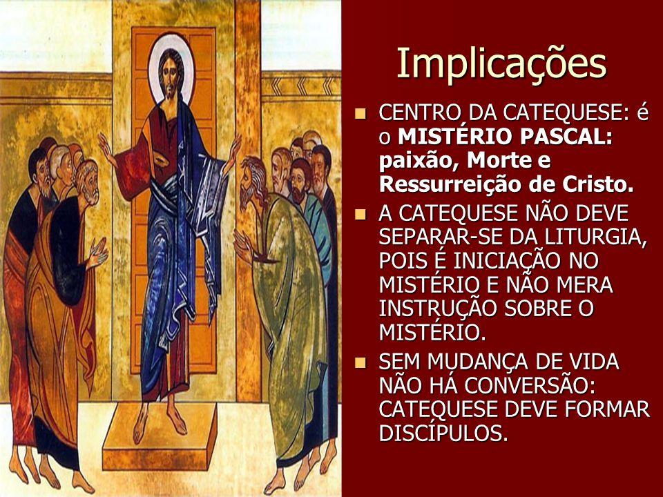 Implicações CENTRO DA CATEQUESE: é o MISTÉRIO PASCAL: paixão, Morte e Ressurreição de Cristo. CENTRO DA CATEQUESE: é o MISTÉRIO PASCAL: paixão, Morte