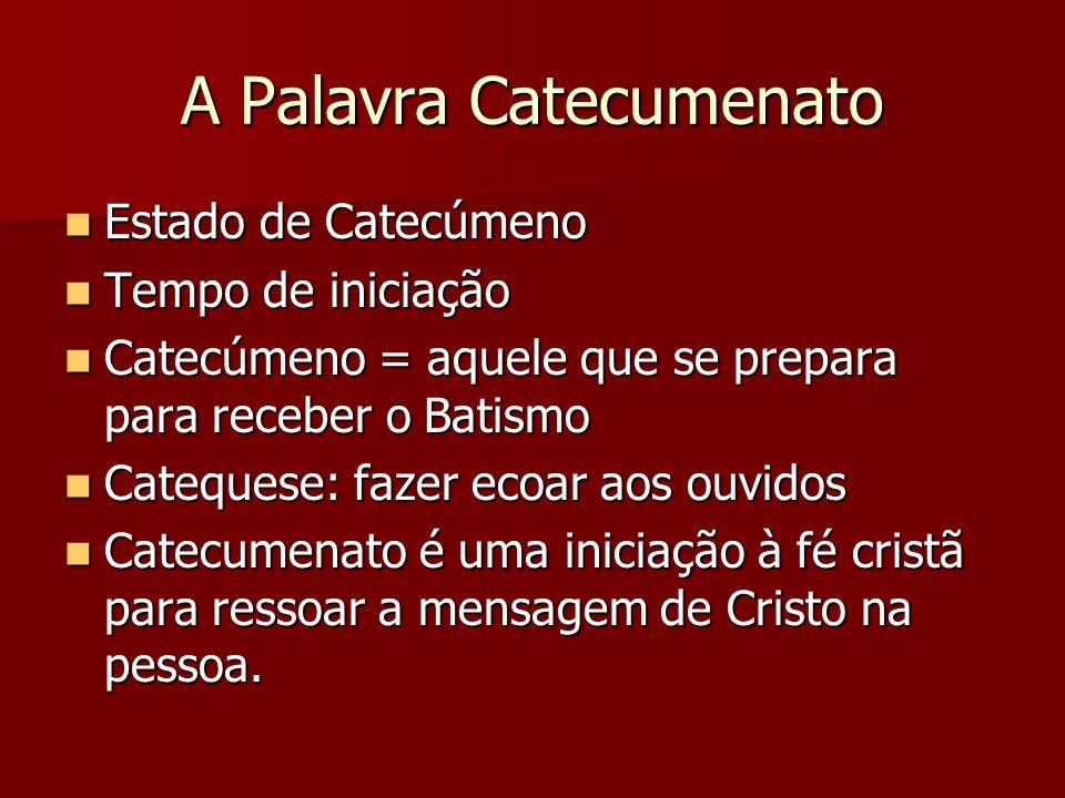 A Palavra Catecumenato Estado de Catecúmeno Estado de Catecúmeno Tempo de iniciação Tempo de iniciação Catecúmeno = aquele que se prepara para receber