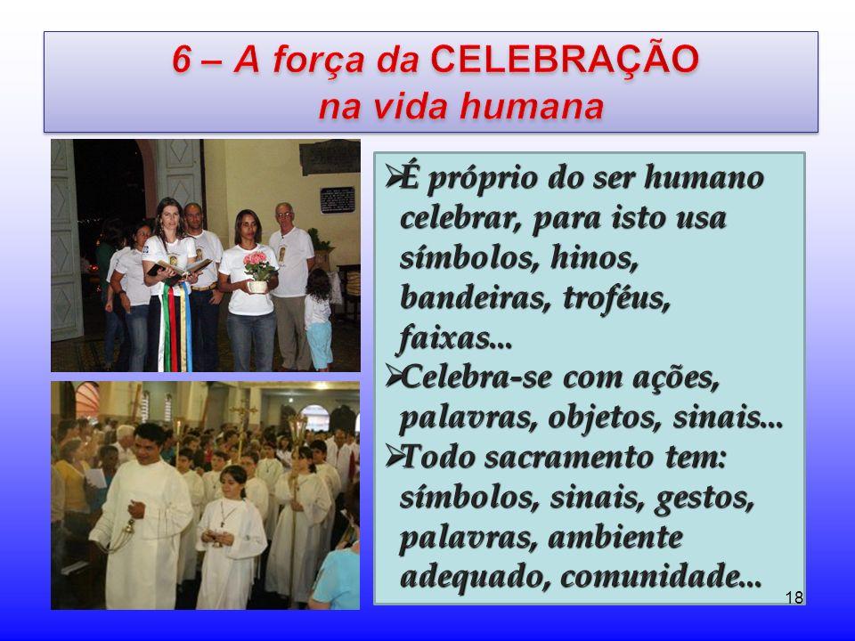 É próprio do ser humano celebrar, para isto usa símbolos, hinos, bandeiras, troféus, faixas... É próprio do ser humano celebrar, para isto usa símbolo