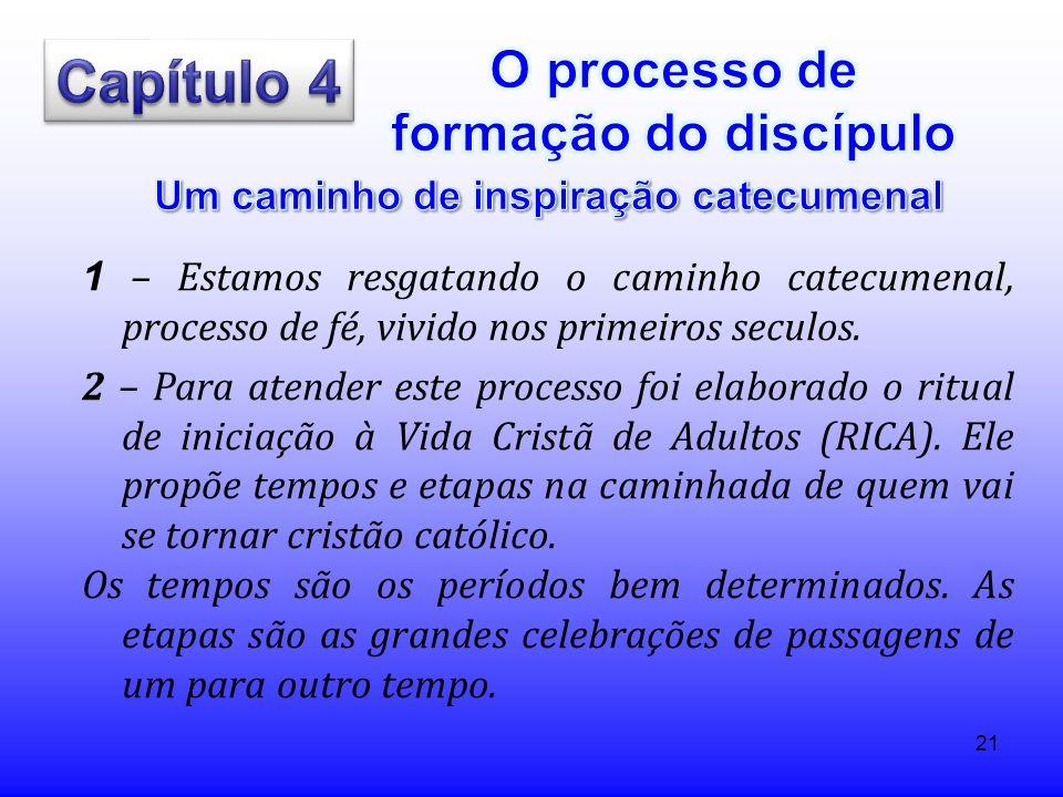 21 1 – Estamos resgatando o caminho catecumenal, processo de fé, vivido nos primeiros seculos. 2 – Para atender este processo foi elaborado o ritual d