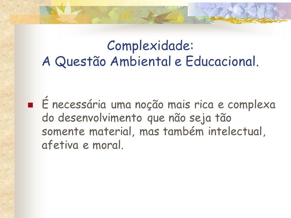 Complexidade: A Questão Ambiental e Educacional. É necessária uma noção mais rica e complexa do desenvolvimento que não seja tão somente material, mas