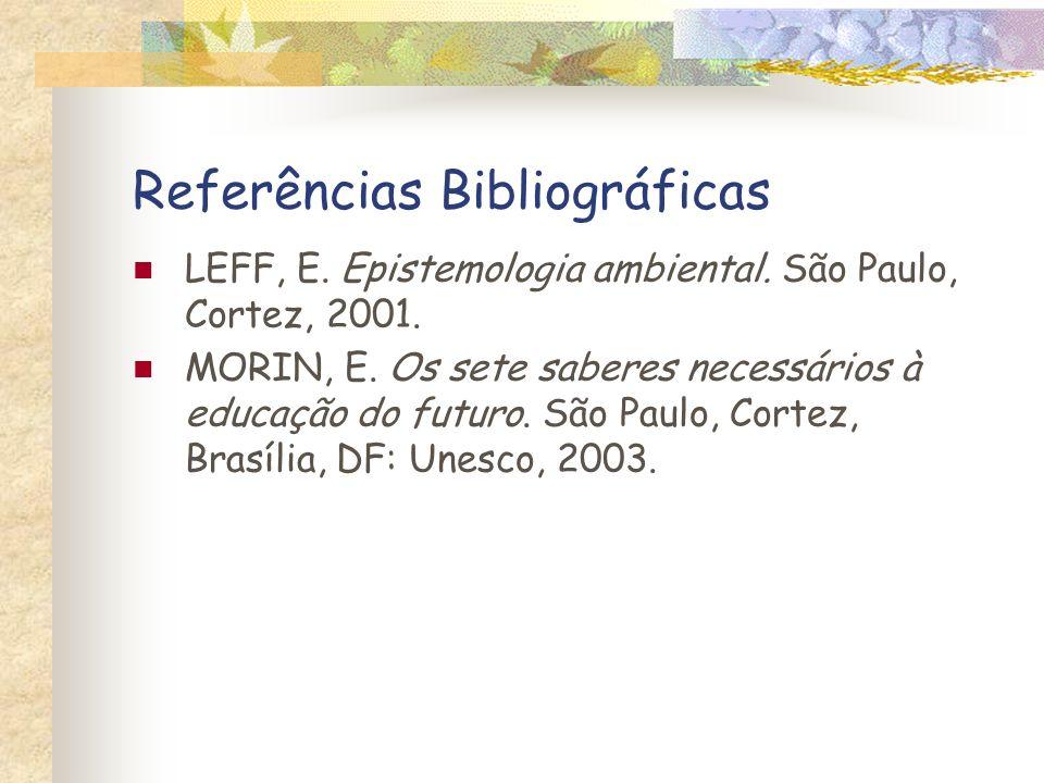 Referências Bibliográficas LEFF, E. Epistemologia ambiental. São Paulo, Cortez, 2001. MORIN, E. Os sete saberes necessários à educação do futuro. São