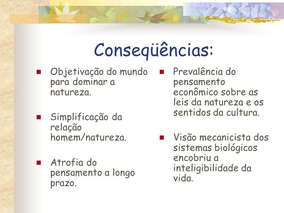 Conseqüências: Objetivação do mundo para dominar a natureza. Simplificação da relação homem/natureza. Atrofia do pensamento a longo prazo. Prevalência