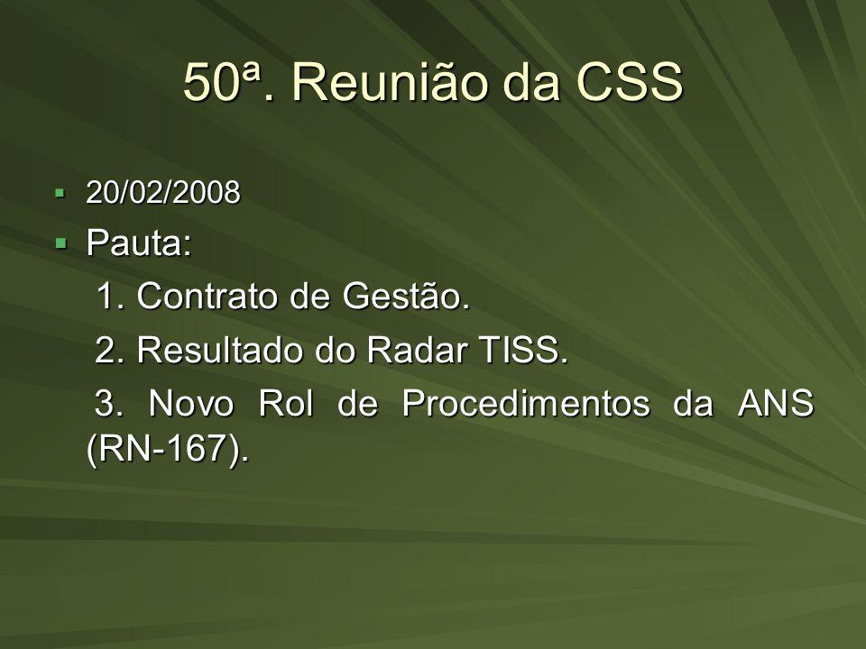 50ª. Reunião da CSS 20/02/2008 20/02/2008 Pauta: Pauta: 1. Contrato de Gestão. 1. Contrato de Gestão. 2. Resultado do Radar TISS. 2. Resultado do Rada