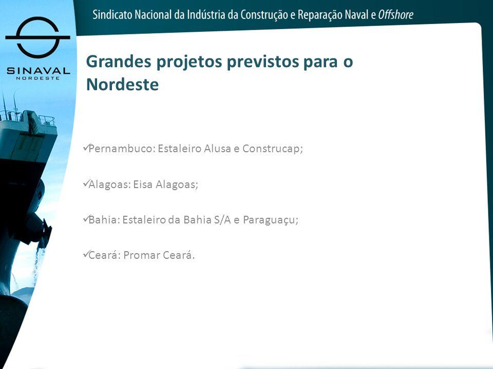 Grandes projetos previstos para o Nordeste Pernambuco: Estaleiro Alusa e Construcap; Alagoas: Eisa Alagoas; Bahia: Estaleiro da Bahia S/A e Paraguaçu;