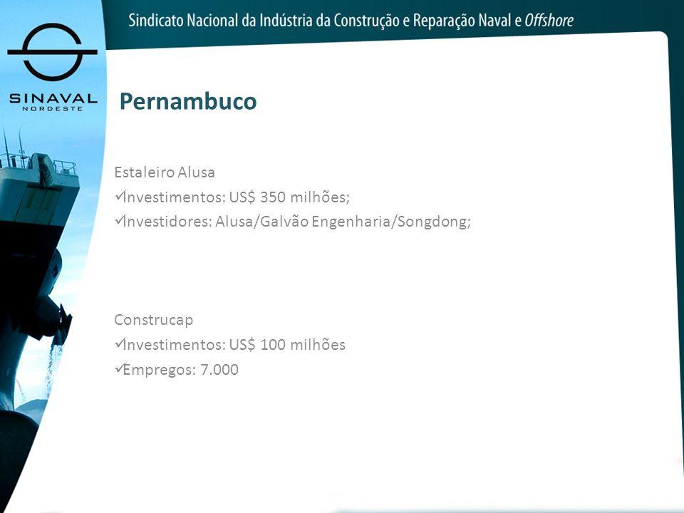 Pernambuco Estaleiro Alusa Investimentos: US$ 350 milhões; Investidores: Alusa/Galvão Engenharia/Songdong; Construcap Investimentos: US$ 100 milhões E
