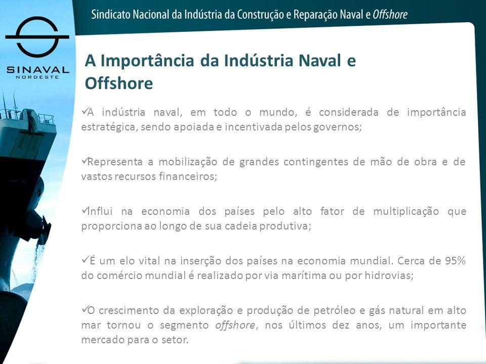 A Importância da Indústria Naval e Offshore A indústria naval, em todo o mundo, é considerada de importância estratégica, sendo apoiada e incentivada