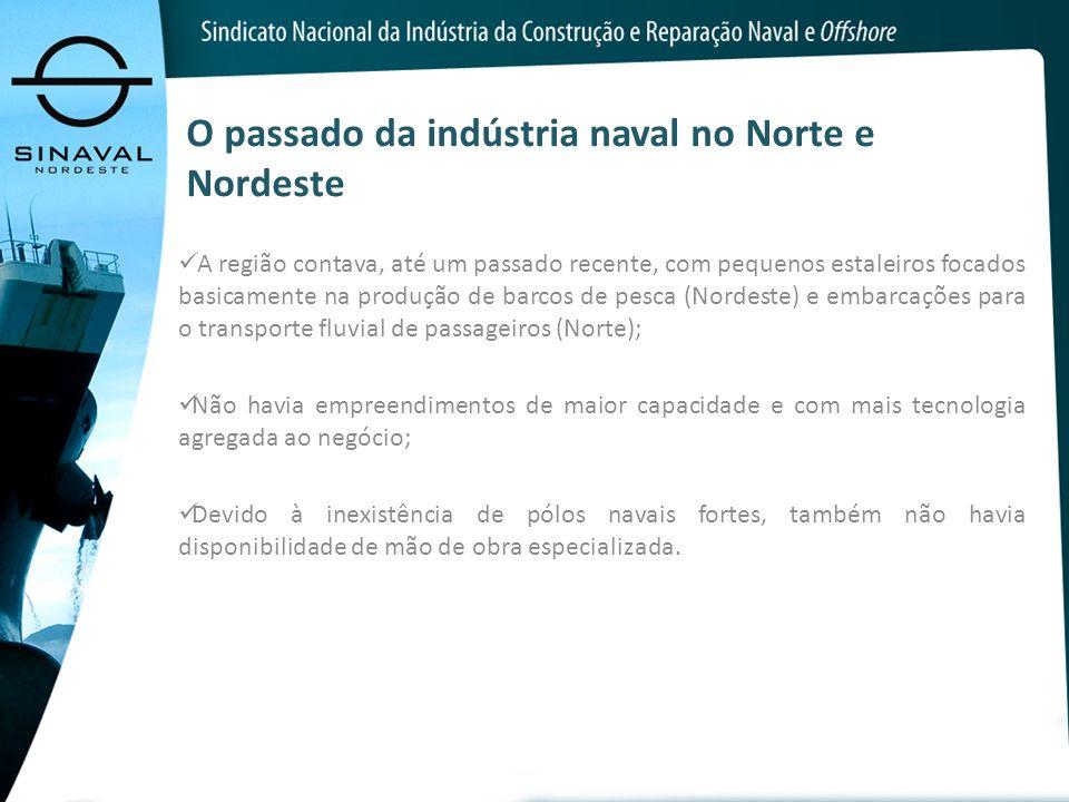O passado da indústria naval no Norte e Nordeste A região contava, até um passado recente, com pequenos estaleiros focados basicamente na produção de