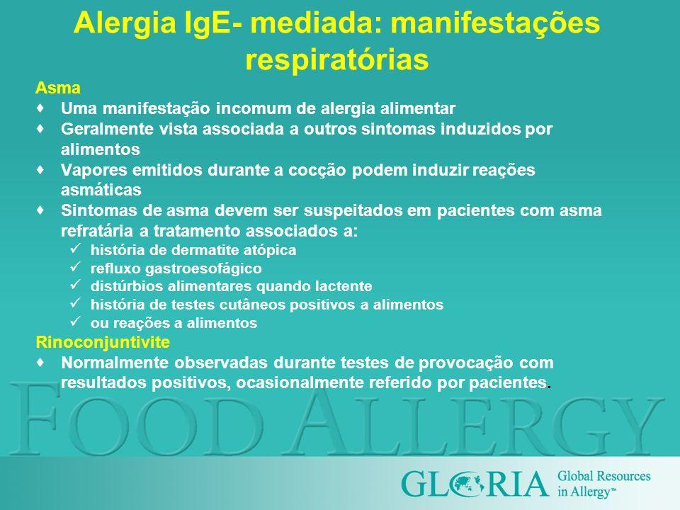 Alergia IgE- mediada: manifestações respiratórias Asma Uma manifestação incomum de alergia alimentar Geralmente vista associada a outros sintomas indu