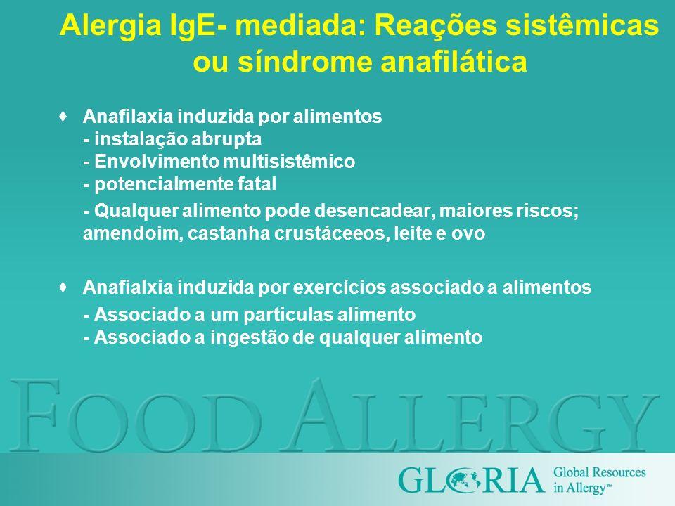 Alergia IgE- mediada: Reações sistêmicas ou síndrome anafilática Anafilaxia induzida por alimentos - instalação abrupta - Envolvimento multisistêmico
