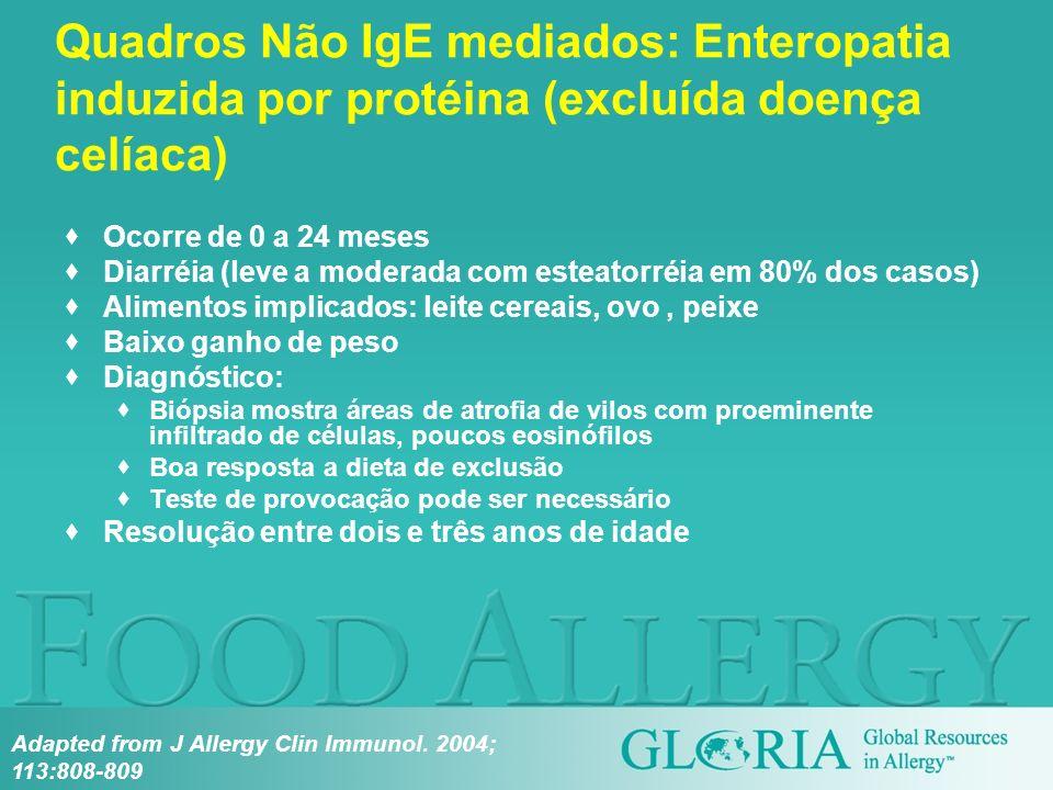 Ocorre de 0 a 24 meses Diarréia (leve a moderada com esteatorréia em 80% dos casos) Alimentos implicados: leite cereais, ovo, peixe Baixo ganho de pes