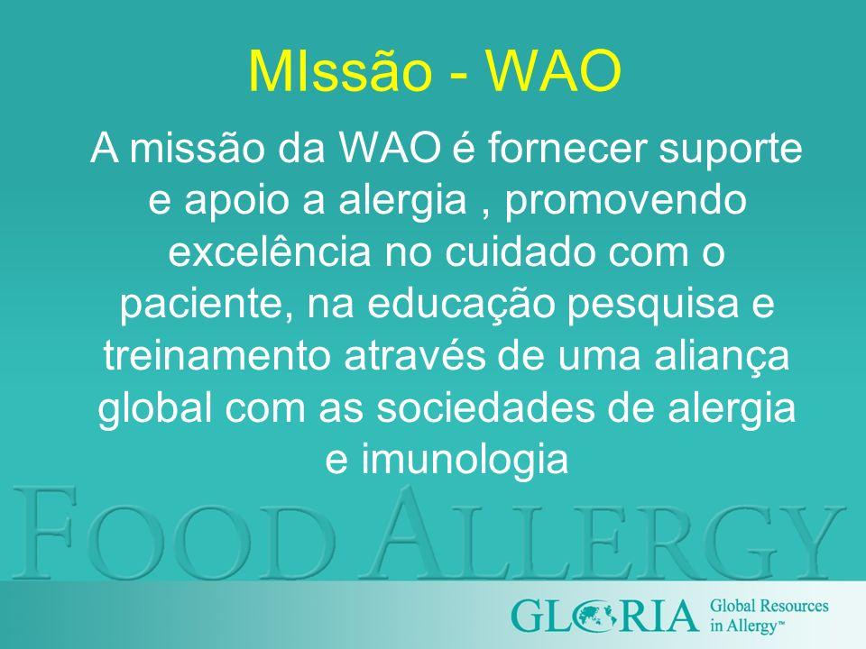 MIssão - WAO A missão da WAO é fornecer suporte e apoio a alergia, promovendo excelência no cuidado com o paciente, na educação pesquisa e treinamento