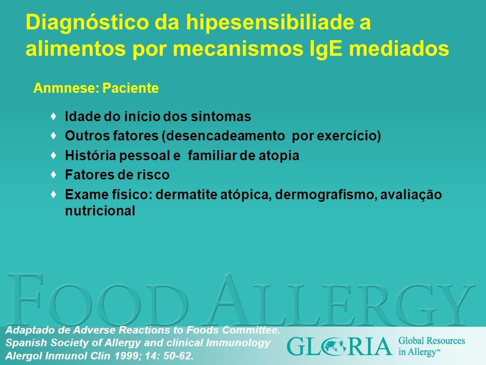 Diagnóstico da hipesensibiliade a alimentos por mecanismos IgE mediados Idade do início dos sintomas Outros fatores (desencadeamento por exercício) Hi