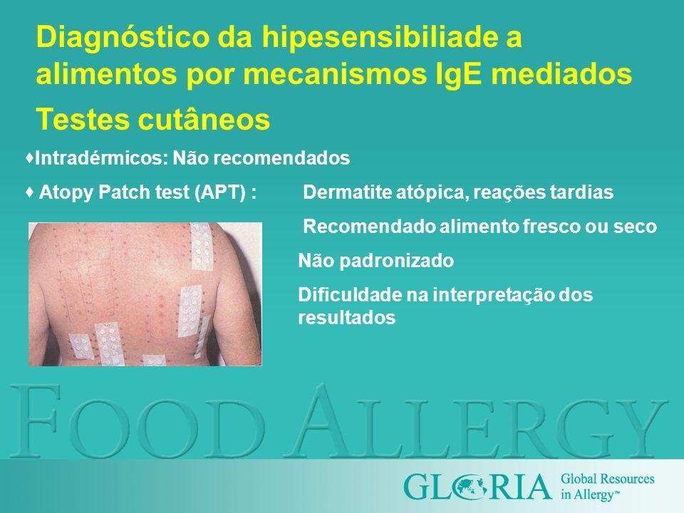 Intradérmicos: Não recomendados Atopy Patch test (APT) : Dermatite atópica, reações tardias Recomendado alimento fresco ou seco Não padronizado Dificu