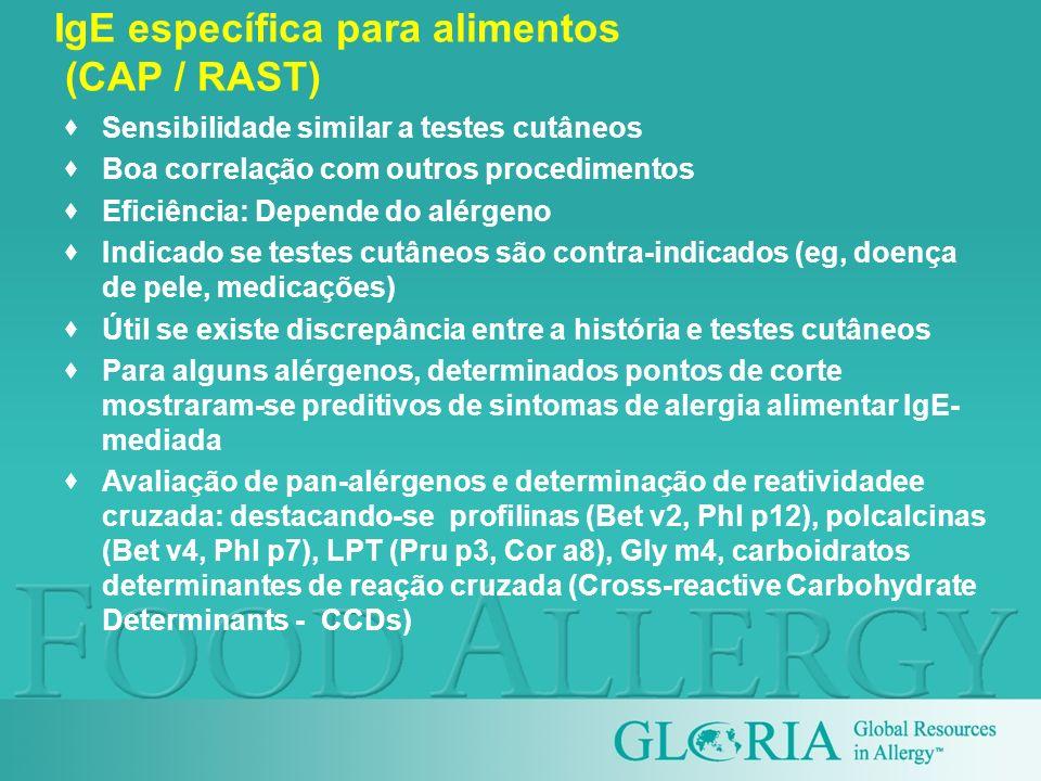 Sensibilidade similar a testes cutâneos Boa correlação com outros procedimentos Eficiência: Depende do alérgeno Indicado se testes cutâneos são contra
