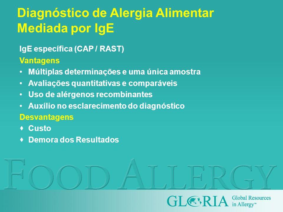 Vantagens Múltiplas determinações e uma única amostra Avaliações quantitativas e comparáveis Uso de alérgenos recombinantes Auxílio no esclarecimento