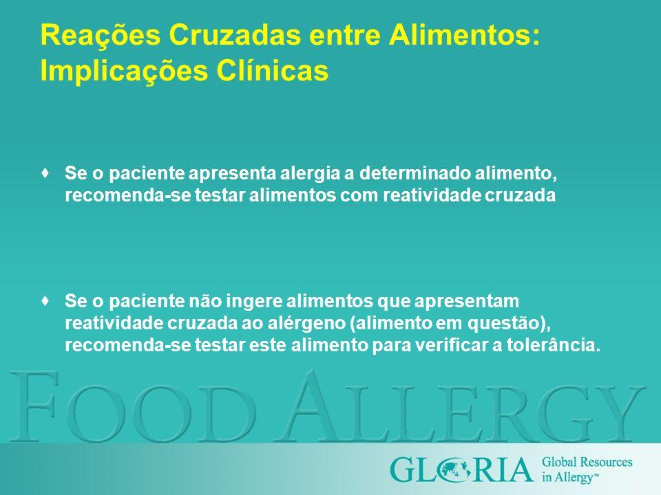 Reações Cruzadas entre Alimentos: Implicações Clínicas Se o paciente apresenta alergia a determinado alimento, recomenda-se testar alimentos com reati