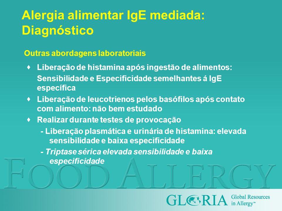 Alergia alimentar IgE mediada: Diagnóstico Liberação de histamina após ingestão de alimentos: Sensibilidade e Especificidade semelhantes á IgE específ