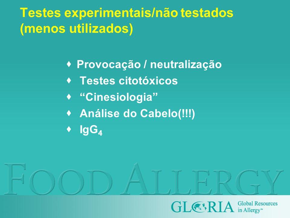 Testes experimentais/não testados (menos utilizados) Provocação / neutralização Testes citotóxicos Cinesiologia Análise do Cabelo(!!!) IgG 4