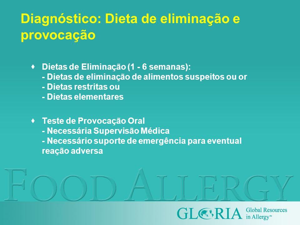 Diagnóstico: Dieta de eliminação e provocação Dietas de Eliminação (1 - 6 semanas): - Dietas de eliminação de alimentos suspeitos ou or - Dietas restr