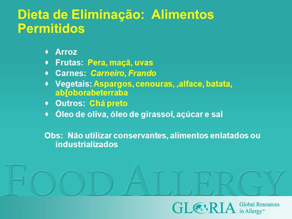 Dieta de Eliminação: Alimentos Permitidos Arroz Frutas: Pera, maçã, uvas Carnes: Carneiro, Frando Vegetais: Aspargos, cenouras,,alface, batata, ab[obo