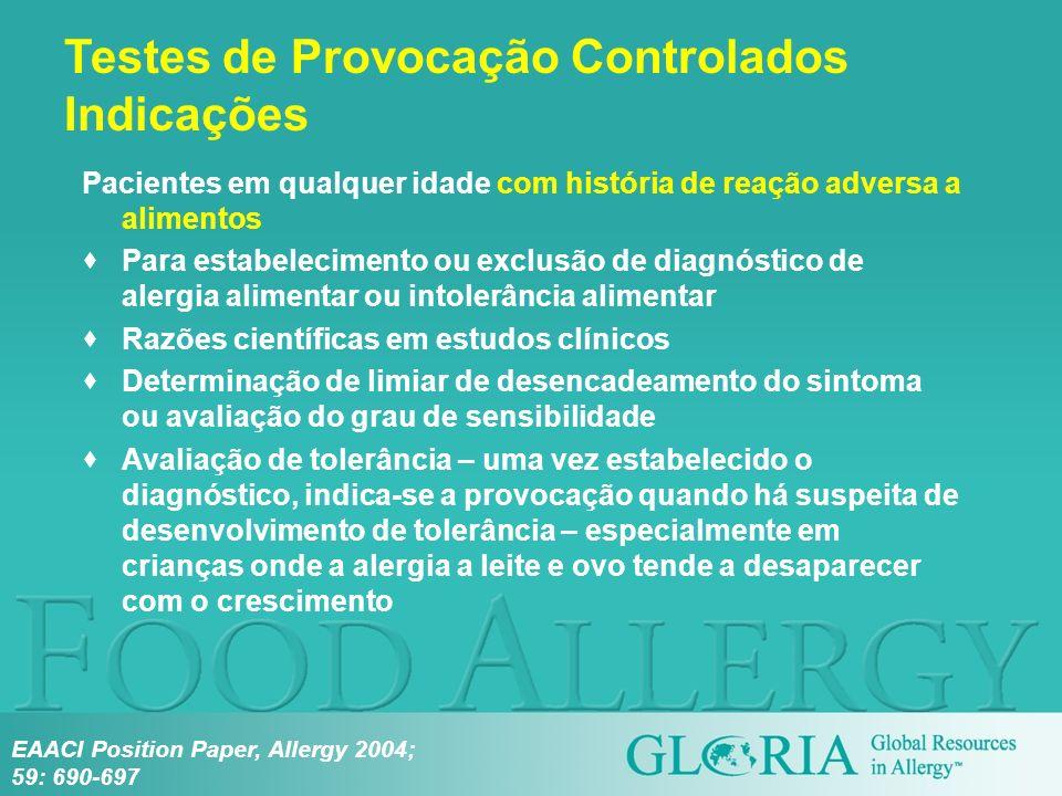Pacientes em qualquer idade com história de reação adversa a alimentos Para estabelecimento ou exclusão de diagnóstico de alergia alimentar ou intoler