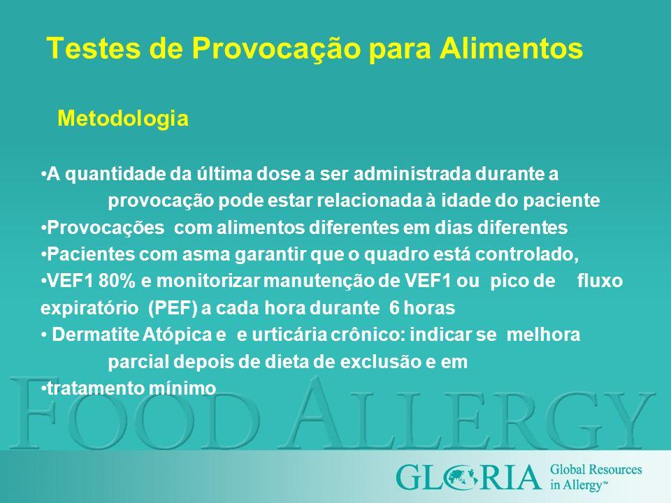 Testes de Provocação para Alimentos A quantidade da última dose a ser administrada durante a provocação pode estar relacionada à idade do paciente Pro
