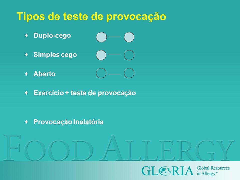 Tipos de teste de provocação Duplo-cego Simples cego Aberto Exercício + teste de provocação Provocação Inalatória