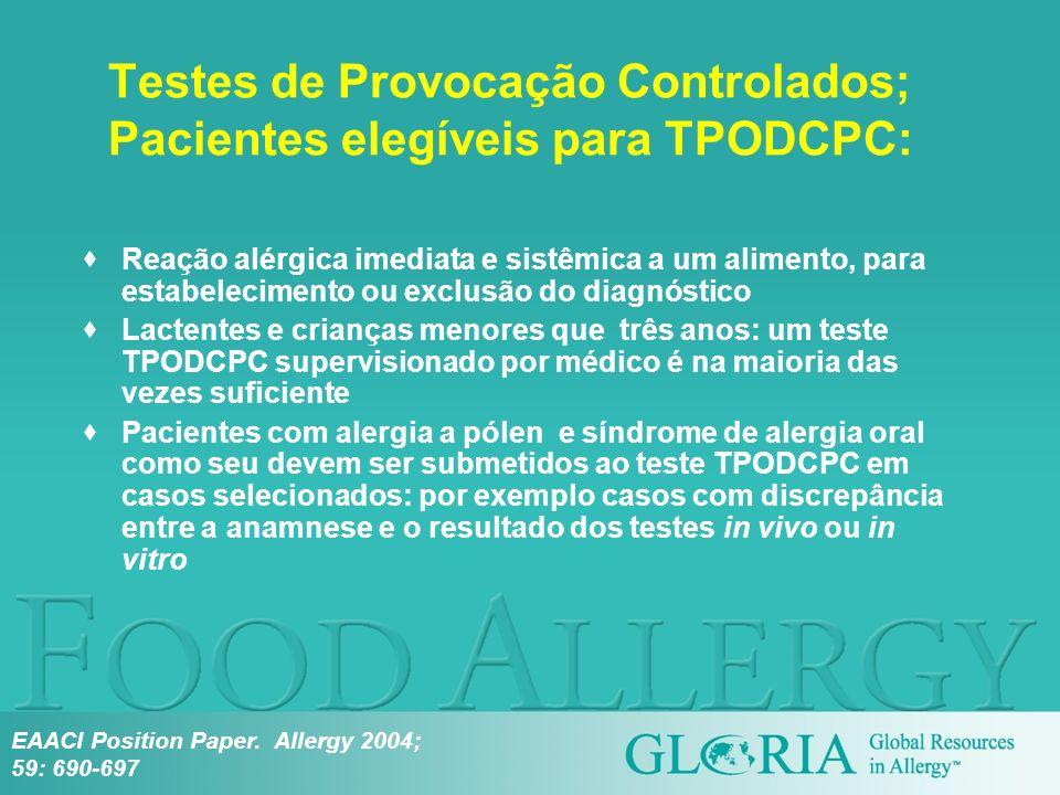 Testes de Provocação Controlados; Pacientes elegíveis para TPODCPC: Reação alérgica imediata e sistêmica a um alimento, para estabelecimento ou exclus