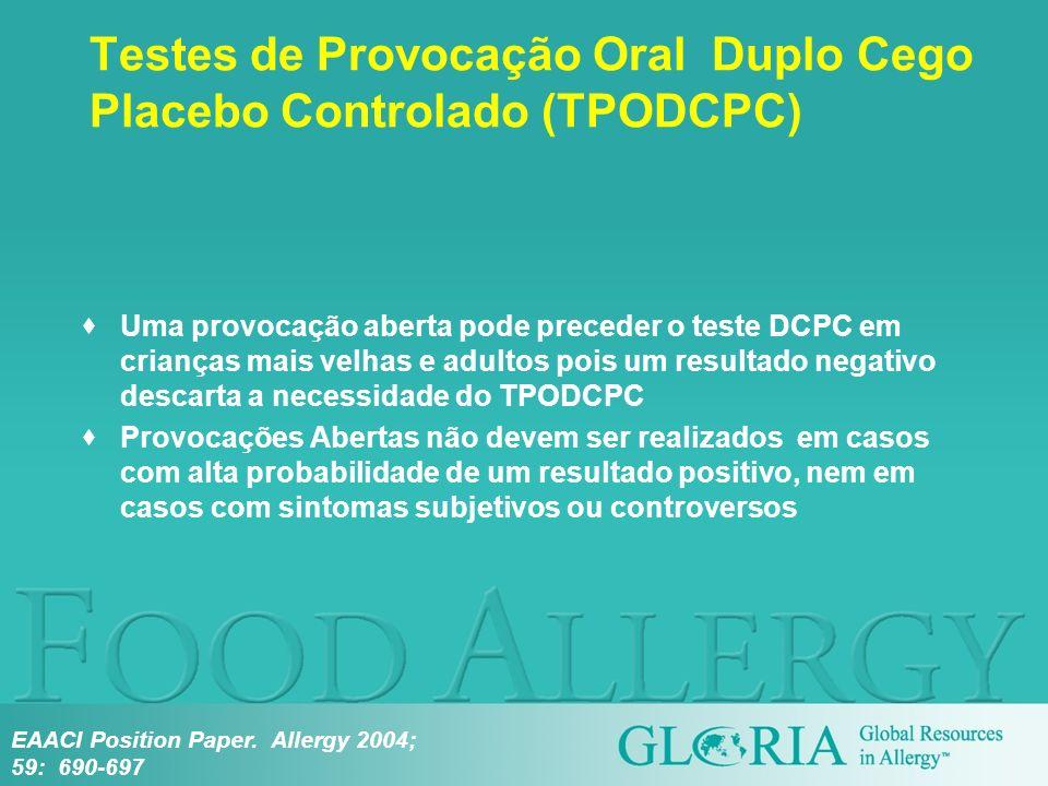 Testes de Provocação Oral Duplo Cego Placebo Controlado (TPODCPC) Uma provocação aberta pode preceder o teste DCPC em crianças mais velhas e adultos p