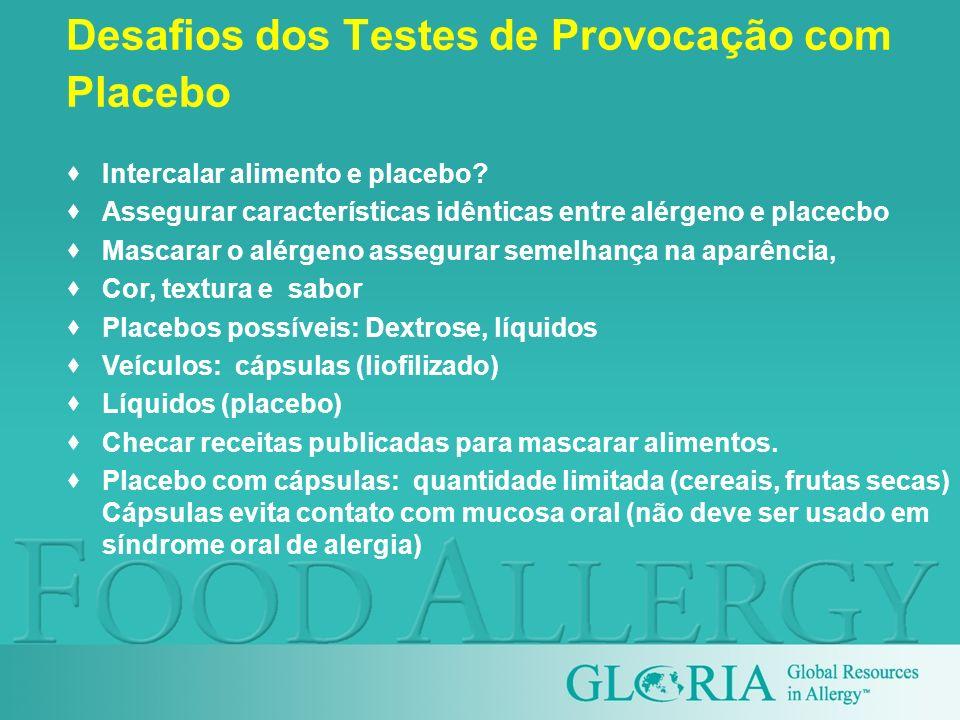 Desafios dos Testes de Provocação com Placebo Intercalar alimento e placebo? Assegurar características idênticas entre alérgeno e placecbo Mascarar o