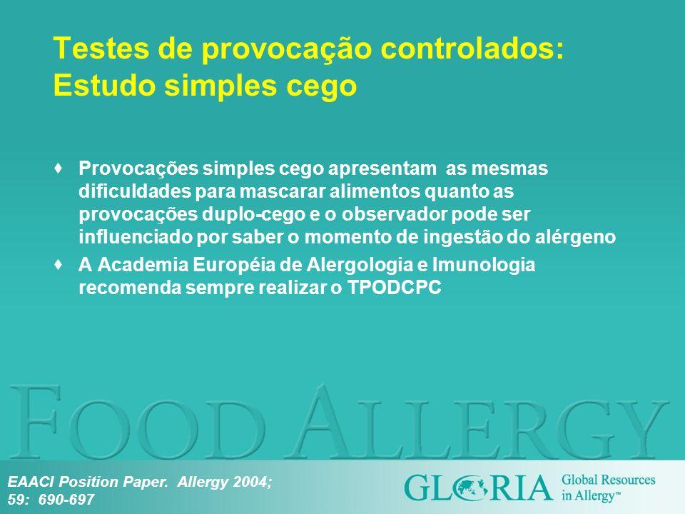 Testes de provocação controlados: Estudo simples cego Provocações simples cego apresentam as mesmas dificuldades para mascarar alimentos quanto as pro