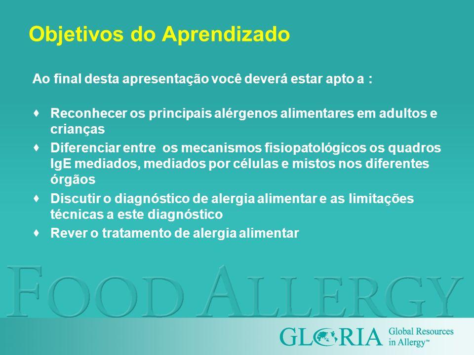 Objetivos do Aprendizado Ao final desta apresentação você deverá estar apto a : Reconhecer os principais alérgenos alimentares em adultos e crianças D