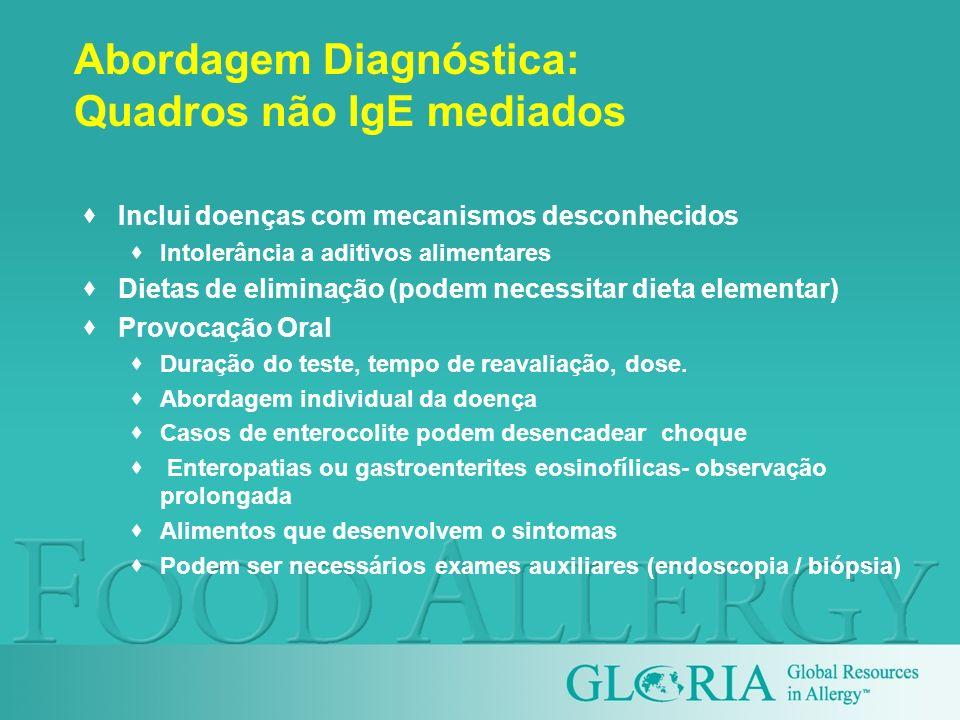 Abordagem Diagnóstica: Quadros não IgE mediados Inclui doenças com mecanismos desconhecidos Intolerância a aditivos alimentares Dietas de eliminação (
