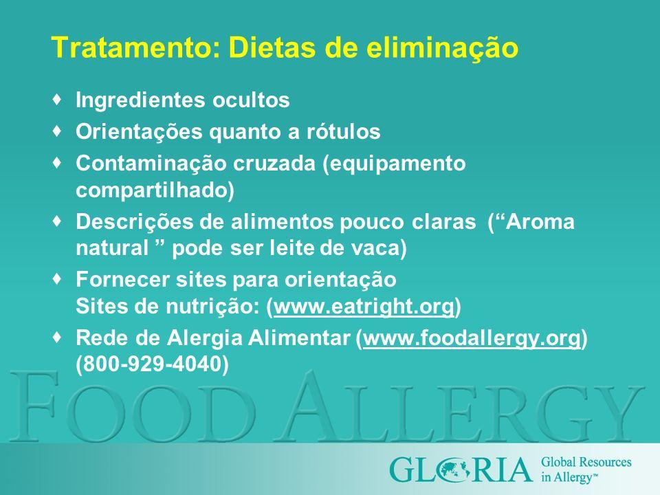 Tratamento: Dietas de eliminação Ingredientes ocultos Orientações quanto a rótulos Contaminação cruzada (equipamento compartilhado) Descrições de alim