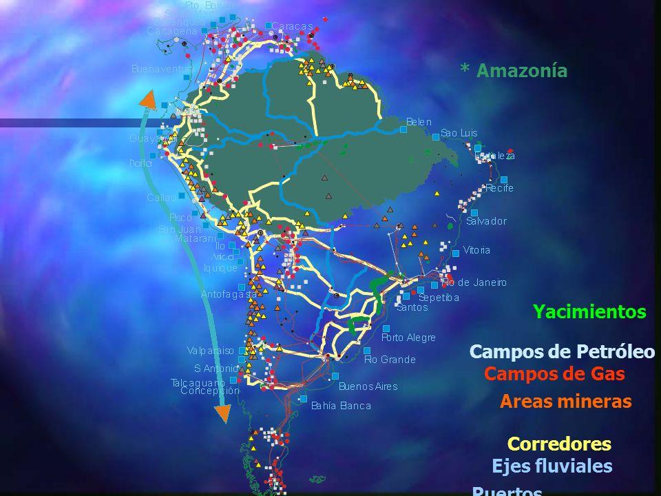 * Amazonía Corredores Ejes fluviales Yacimientos Campos de Petróleo Campos de Gas Areas mineras Puertos